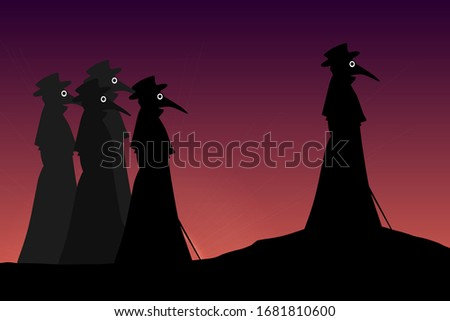 silhouettes of medieval plague