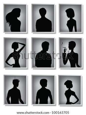 Silhouettes of men and women in frames