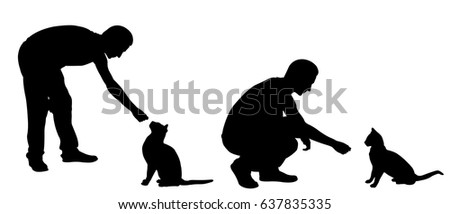 silhouettes of men feeding cats