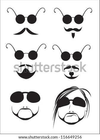 silhouettes of men's mustache and beard (vector illustration) - stock vector