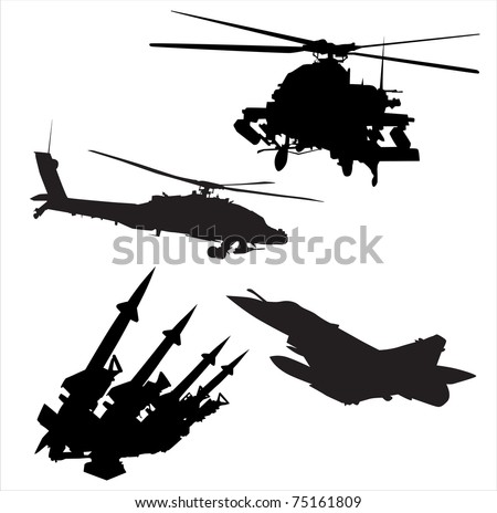 silhouettes of military