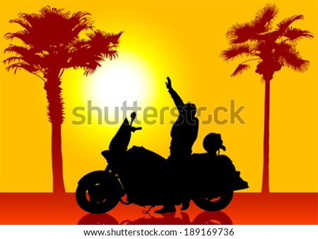Silhouettes of motorcyclists and palm tree