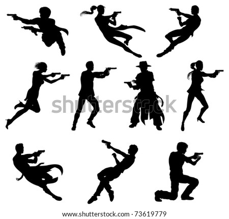 silhouettes of movie action