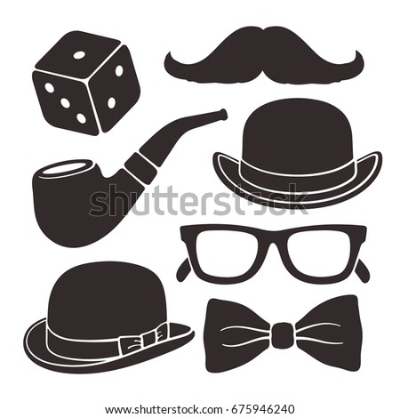 Silhouettes of mustache, glasses, hat bowler, smoking pipe and bow tie. Vector illustration set. Gentlemen's vintage accessories. Men's fashion and style. Isolated on white background