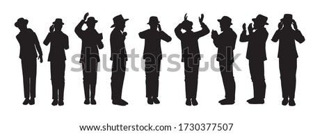 Silhouettes of Orthodox Jewish chassidim praying and crying. With a hat and a suit. Each character takes a different action: begging, calling in the arrangement, punching his heart, raising his hands. Photo stock ©