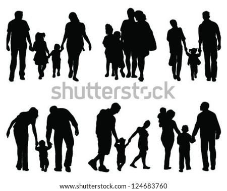 Silhouettes of parents with children 2, vector