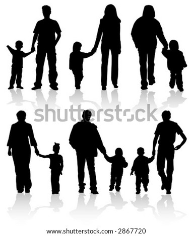 Silhouettes of parents with children, vector illustration