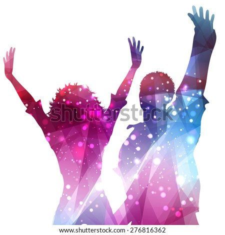 Silhouettes of party people on an abstract background
