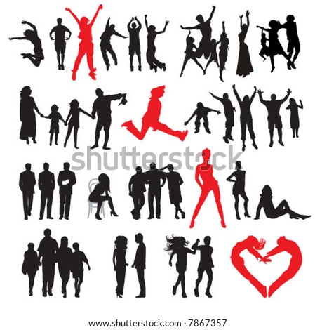 Silhouettes of people: business, family, sport, fashion, love - stock vector