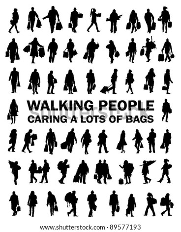 Silhouettes of people caring bags, luggage, shopping, presents, christmas tree