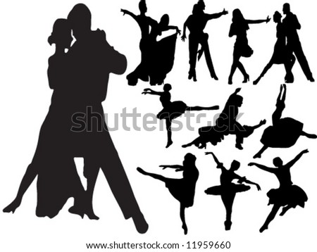 Silhouettes of people dancing different types of dance - stock vector