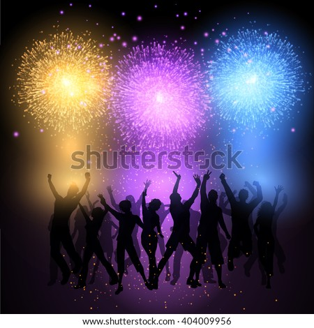 Silhouettes of people dancing on a fireworks background #404009956
