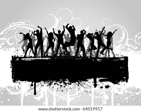 Silhouettes of people dancing on a floral grunge background