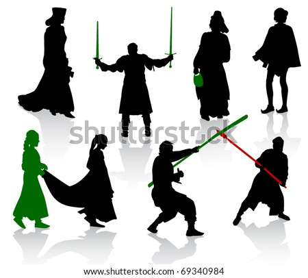 Silhouettes of people in medieval costumes. Knight, warrior, herald, princess.