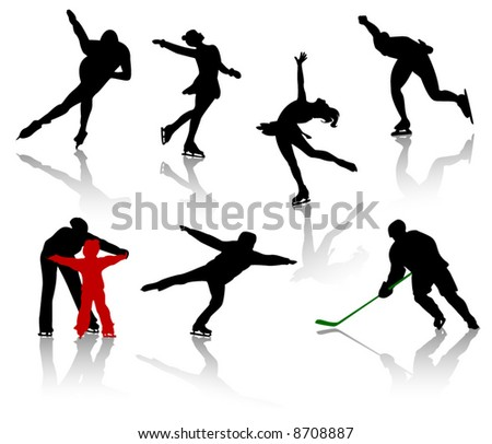 Silhouettes of people on a skating rink. Figure skating, hockey, training, competition.