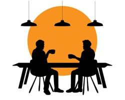 Silhouettes Of People. Silhouette Of a Table In a Cafe. Vector Black Illustration Isolated On White Background.