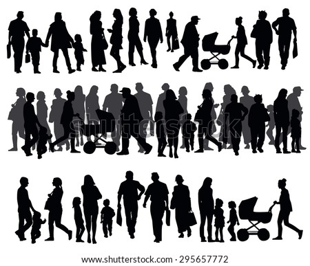 Silhouettes Of People Walking On The Street Motion Urban Sidewalk Busy City