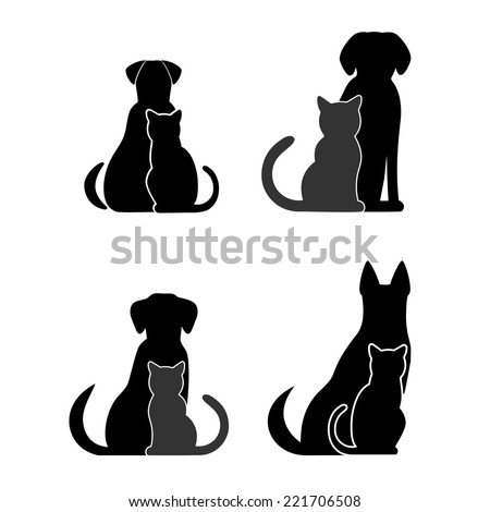 silhouettes of pets  cat dog