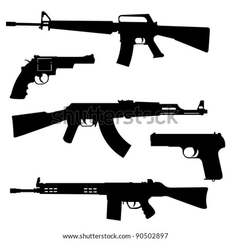 silhouettes of pistols and