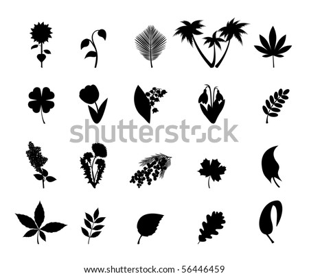Silhouettes of plant. Vector icon set