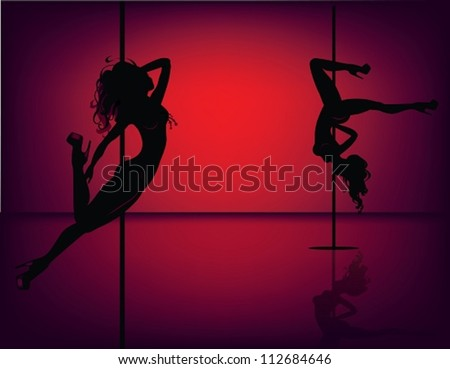 Silhouettes of pole dancers. The vector illustration of several pole dancers silhouettes.