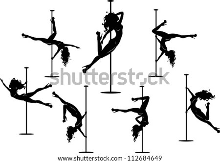Silhouettes of pole dancers. The vector illustration of several pole dancers silhouettes. Сток-фото ©