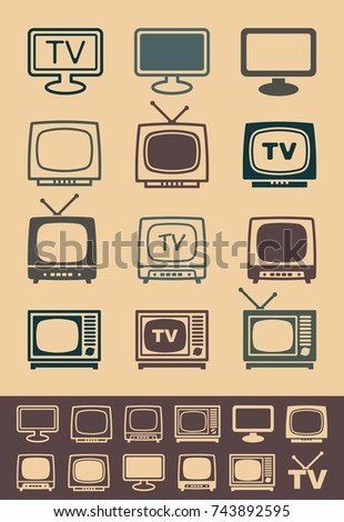 Silhouettes of retro and modern televisions. Vector Illustration