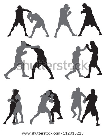 Silhouettes of rival boxers