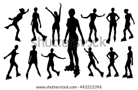 Silhouettes of roller girl