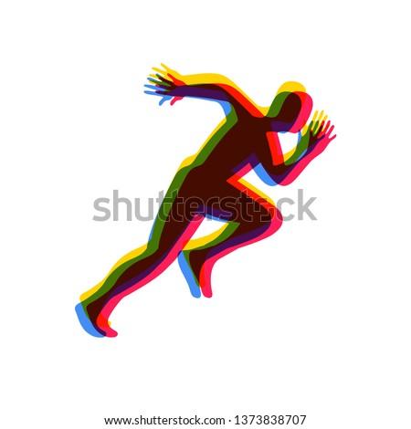 Silhouettes of running athlete. Running man.