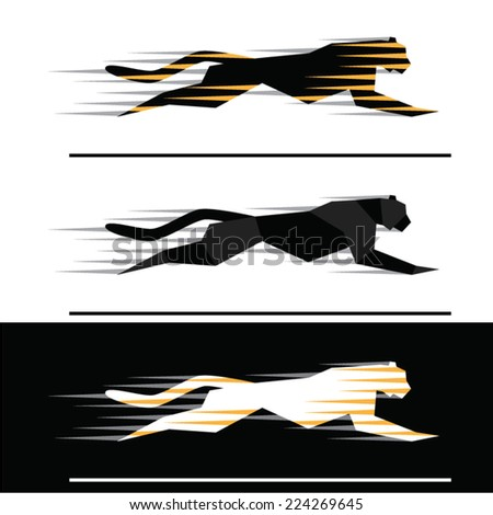 silhouettes of running big