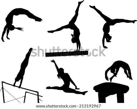 silhouettes of several gymnastic moves