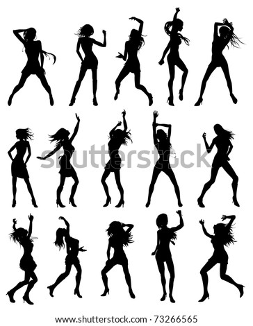 Silhouettes of sexy beautiful women dancing