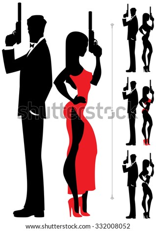 stock-vector-silhouettes-of-spy-couple-over-white-background-four-versions-differing-by-the-outfit-of-the