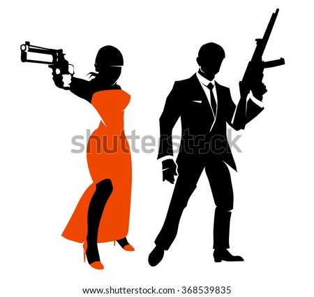 silhouettes of spy couple