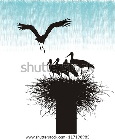 Silhouettes of storks in the nest on sky background