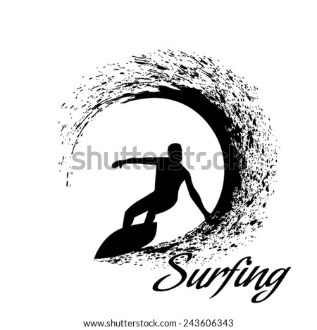 Stock Photo silhouettes of surfers