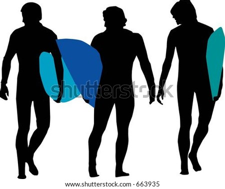 Silhouettes of Surfers - Vector