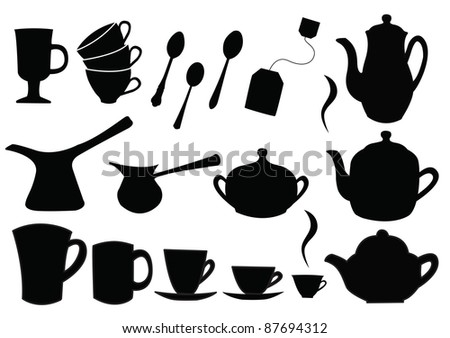silhouettes of  tea and coffee set