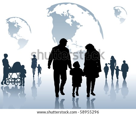 Silhouettes of the children and parents on a blue background