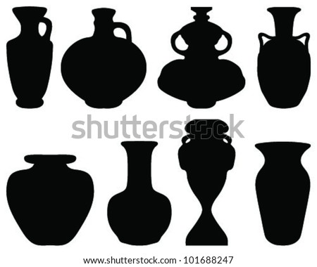 Silhouettes of the vases and jars-vector