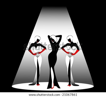 Silhouettes of three beautiful singers on a scene