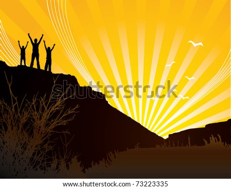 Silhouettes of three people on hill at sunrise.