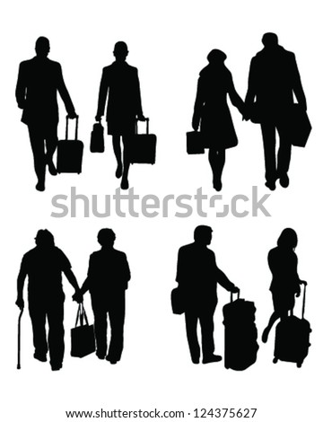 silhouettes of travelers with