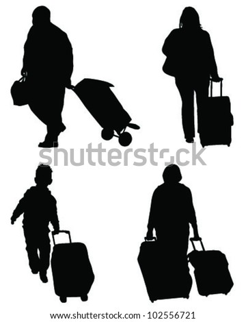 Silhouettes of travelers with suitcases-vector