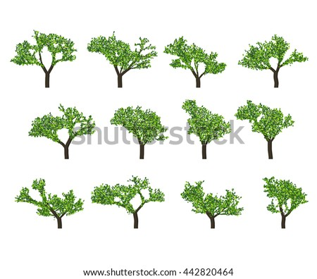 silhouettes of trees on white