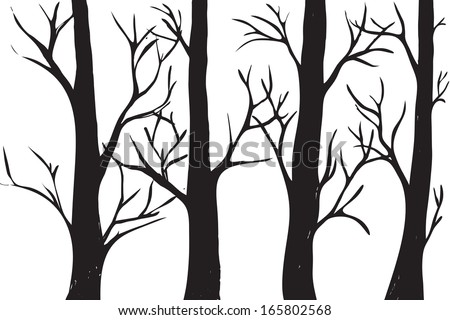 silhouettes of trees without