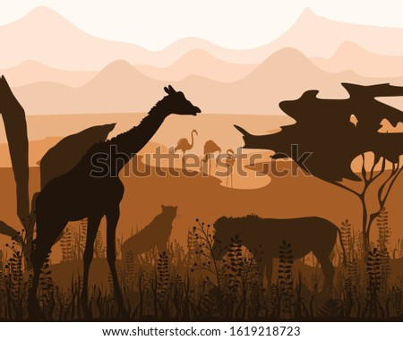 silhouettes of two african