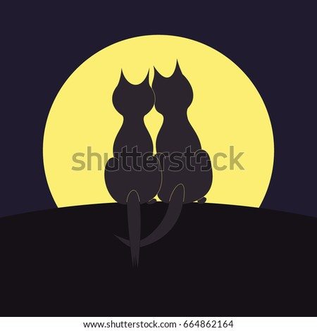 silhouettes of two cats on the