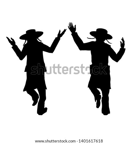 silhouettes of two dancing Jews, for a Jewish holiday Lag BaOmer. Without background, isolated ストックフォト ©